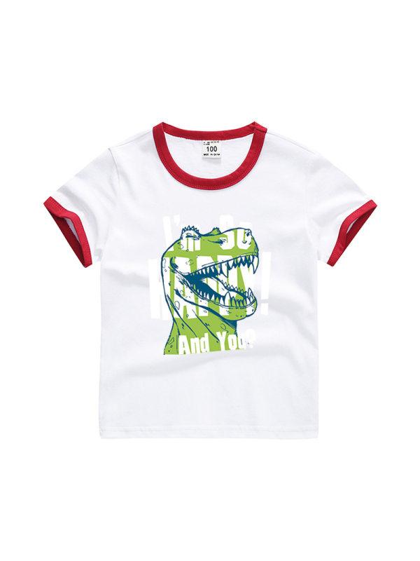 【3Y-11Y】Boys Color Stitching Cartoon Print Short Sleeve T-shirt