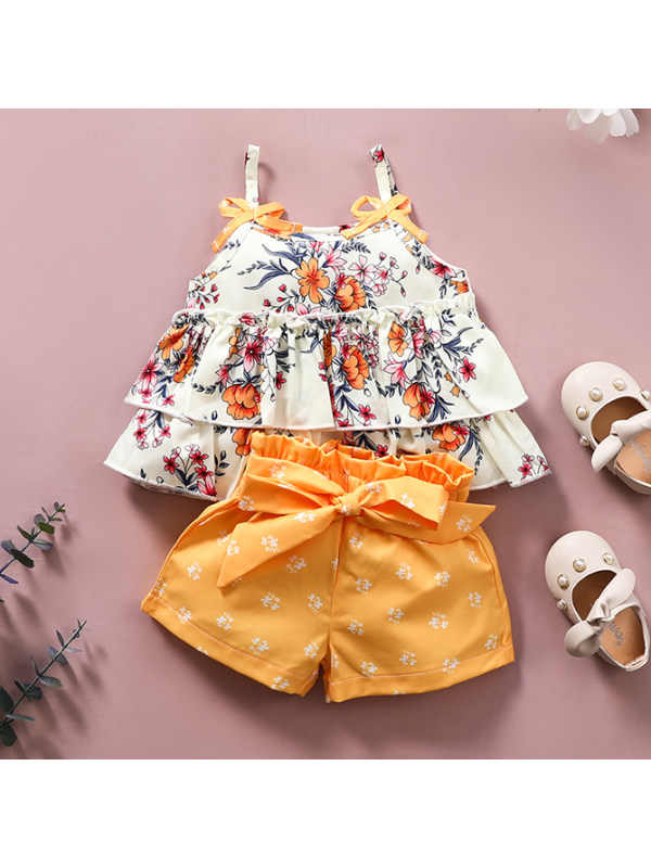 【0M-6Y】Cute Floral Print Sling Top and Shorts Set - 3454