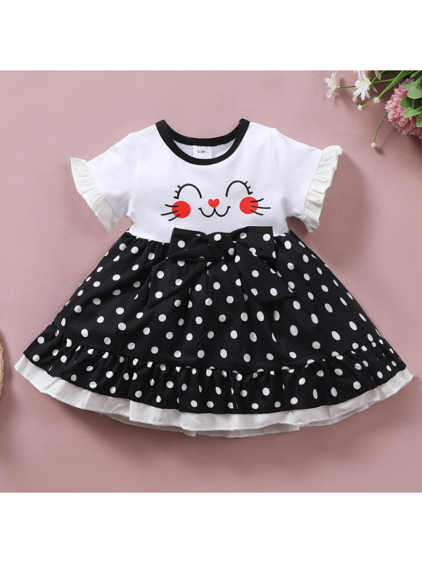 【0M-18M】Cute Cartoon And Polka Dot Print Round Neck Short Sleeve Dress