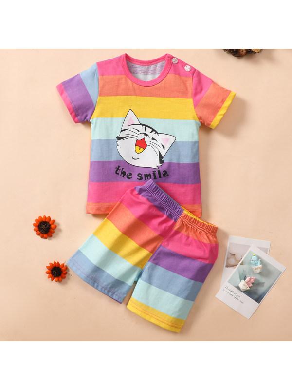 【9M-4Y】Cute Cartoon Printed Colorful Striped T-shirt Set