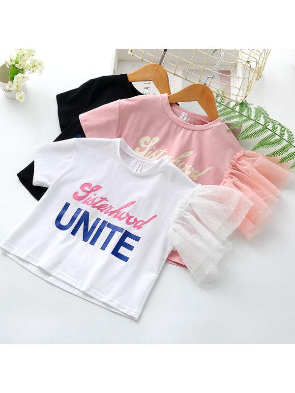 【18M-7Y】Girls Letter Print Mesh Stitching Short Sleeve T-shirt
