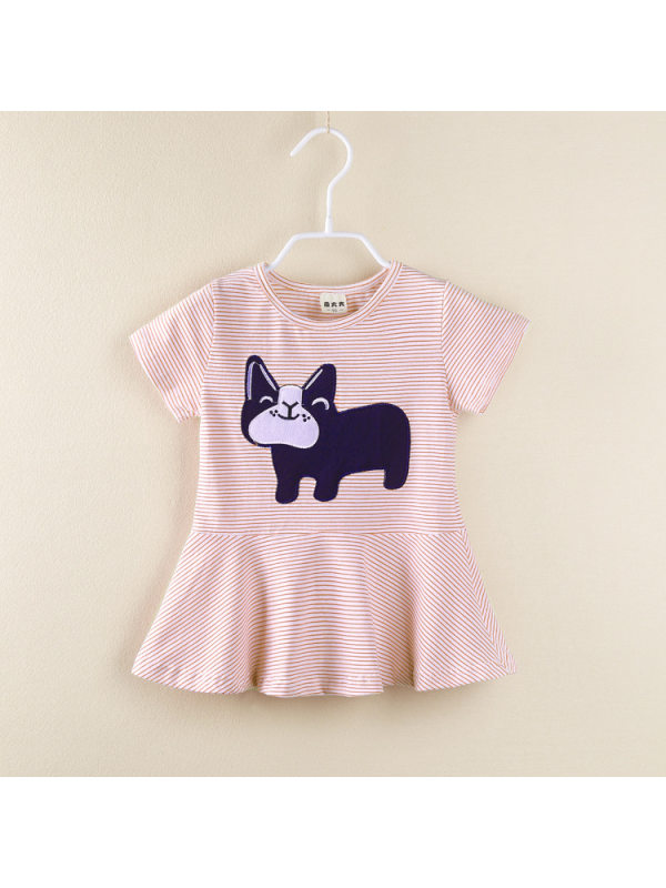 【18M-7Y】Girls Casual Striped Cartoon Print Short sleeve Long T-shirt