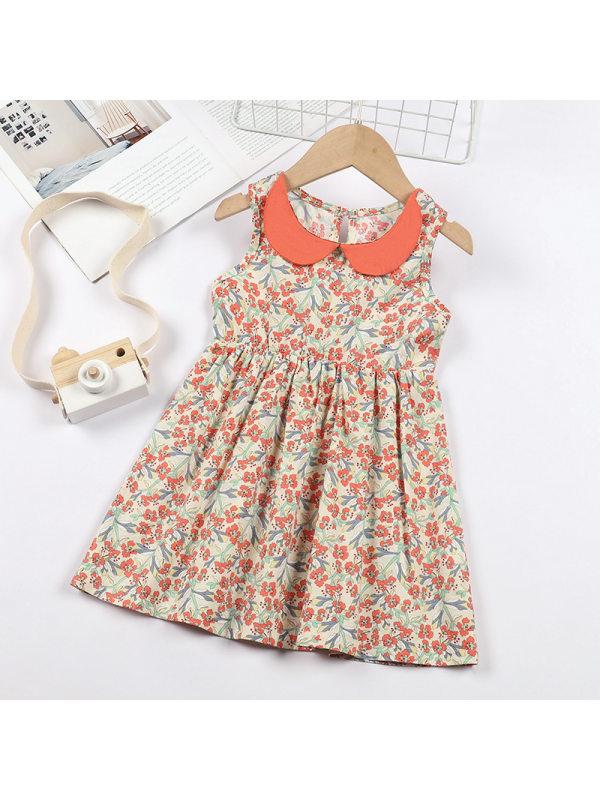【12M-5Y】Girls Lapel Sleeveless A-line Floral Dress