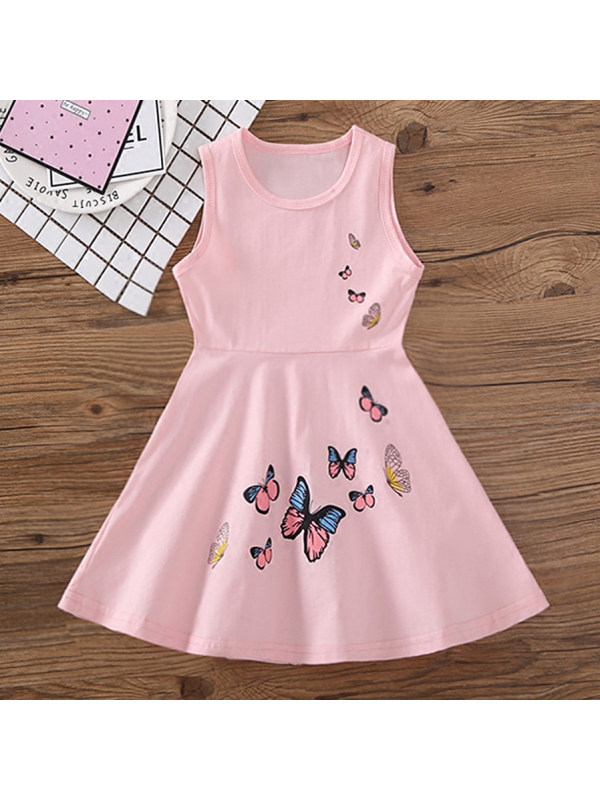 【18M-7Y】Sweet Butterfly Print Round Neck Sleeveless Dress