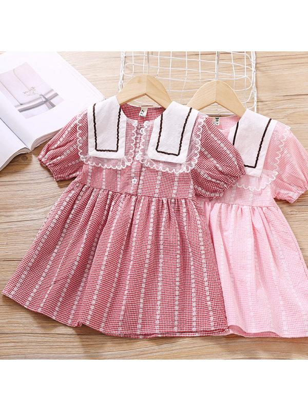 【18M-7Y】Girl's Sweet Plaid Lapel Short Sleeve Dress