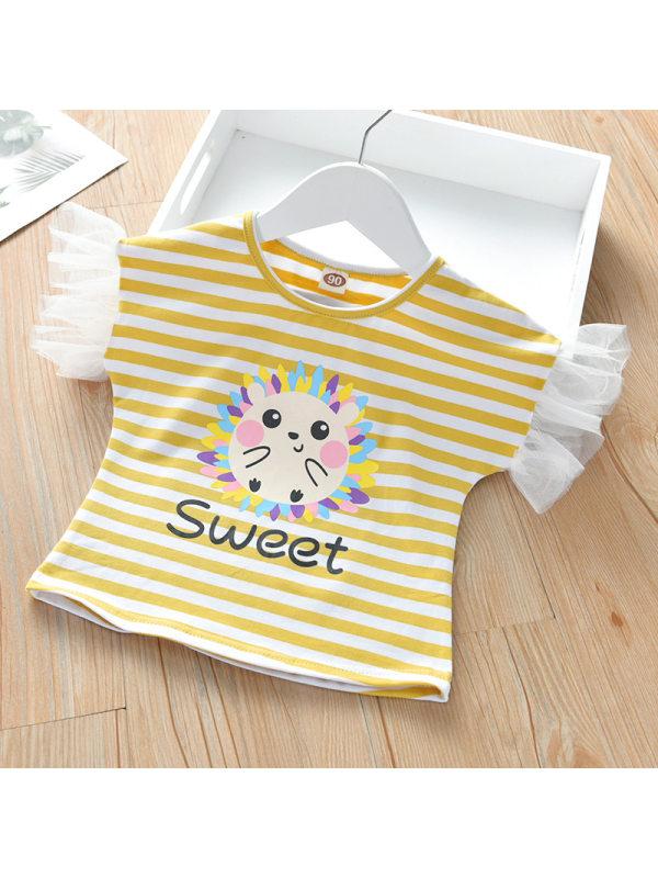 【18M-7Y】Girls Striped Cartoon Pattern Mesh Short-sleeved T-shirt