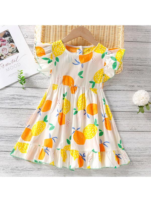 【18M-7Y】Sweet Lemon Print Round Neck Short Sleeve Dress
