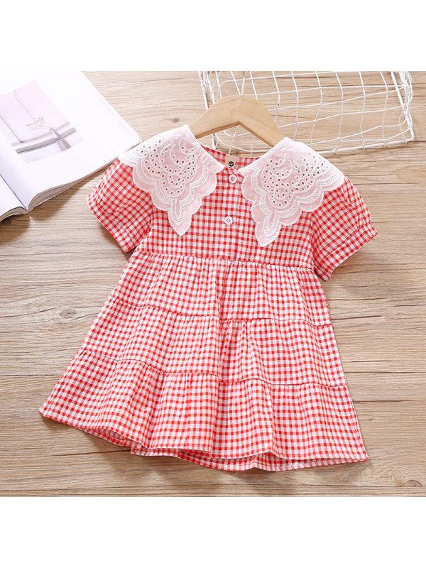 【18M-7Y】Girls Sweet Red Plaid Short Sleeve Dress