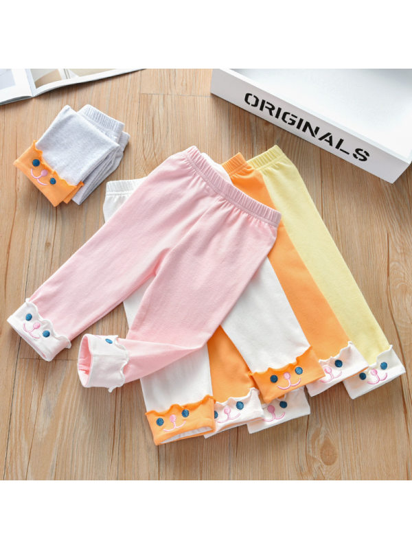 【18M-9Y】Girls Fashion All-match Cute Embroidery Cropped Leggings