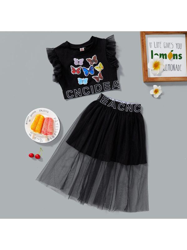 【18M-7Y】Girls Fashion Butterfly Print Sleeveless Top Mesh Skirt Set