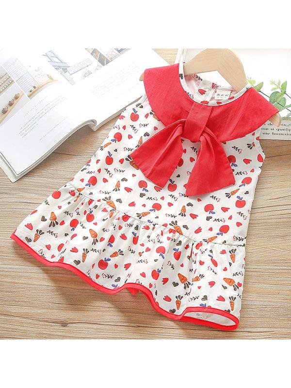 【18M-7Y】Girls Cartoon Fruit Full Print Bow Sleeveless Dress