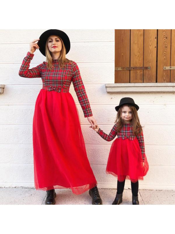 Red Plaid Mesh Stitching Mom Girl Matching Dress - 1389