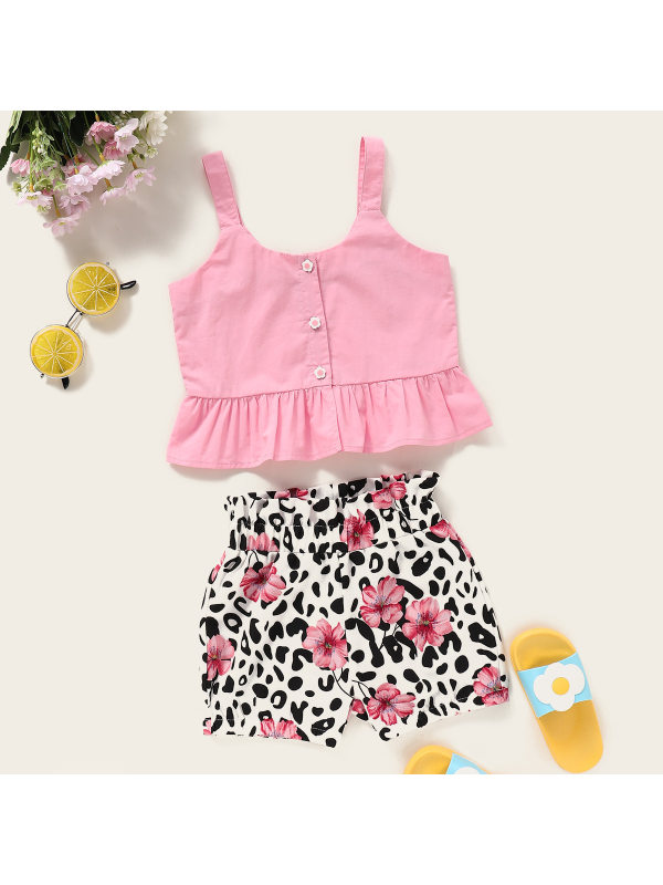 【18M-7Y】Girls Sweet Cute Camisole Top Flower Leopard Shorts Suit