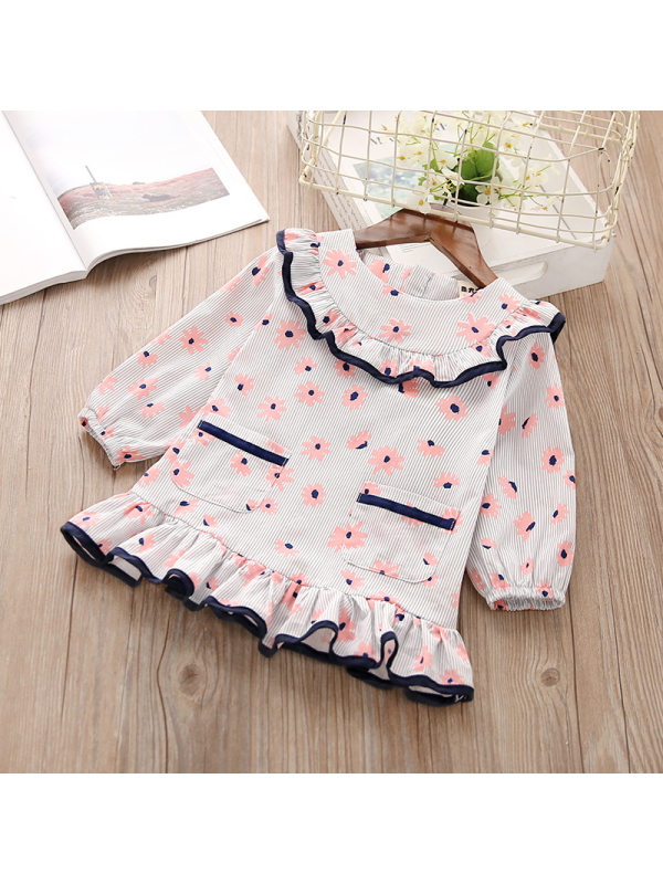 【18M-7Y】Girls Cute Sweet Lace Striped Flower Print Long Sleeve Dress