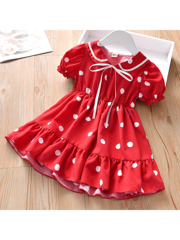 【18M-9Y】Girls Sweet Doll Collar Polka Dot Puff Sleeve Dress