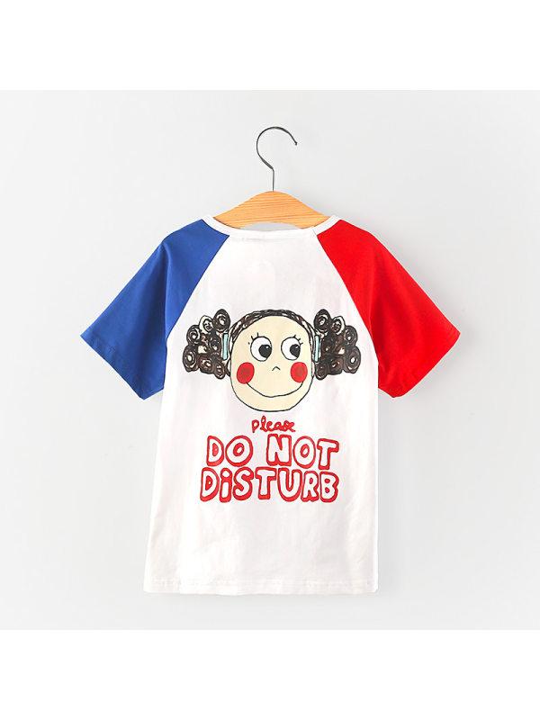 【18M-7Y】Girls Fashion Cartoon Little Girl Print Short Sleeve T-shirt