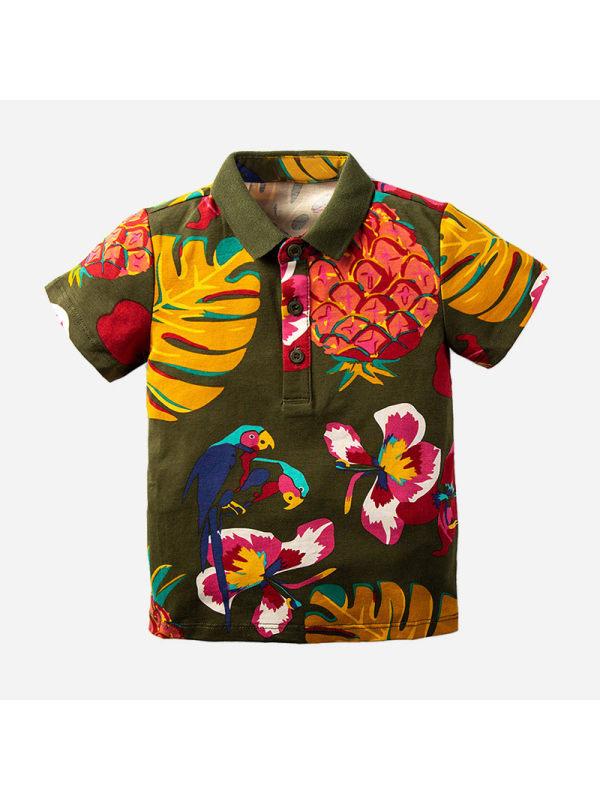 【18M-7Y】Boys Tropical Sub-print Short-sleeved Polo Shirt