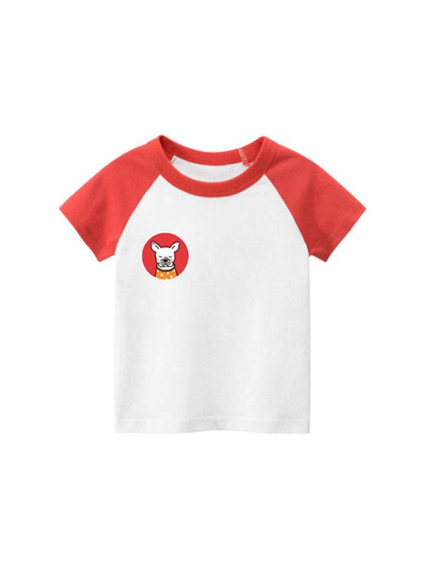 【18M-9Y】Boys Cartoon Animal Print Short Sleeve T-shirt