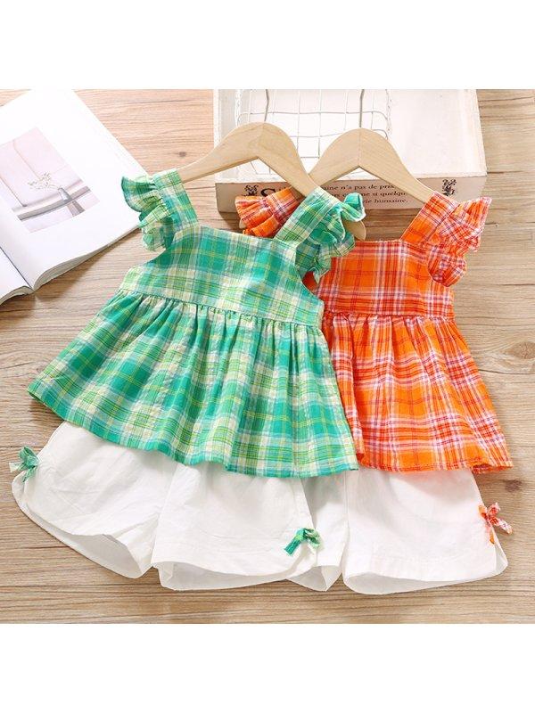 【18M-7Y】Cute Check Ruffled Sling Top and Shorts Set
