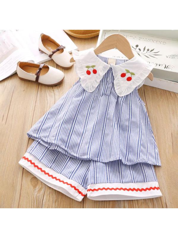 【18M-7Y】Girls Sweet Blue Striped Lapel Top Pants Set - 3467