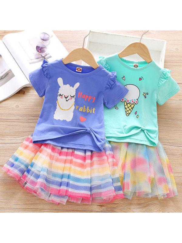 【18M-7Y】Cute Cartoon Printed T-shirt and Striped Mesh Skirt Set