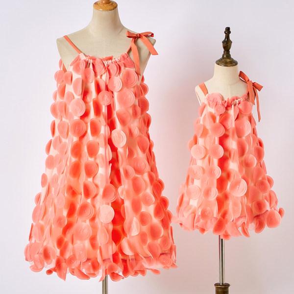Sweet Orange Sling Mesh Mom Girl Matching Dress