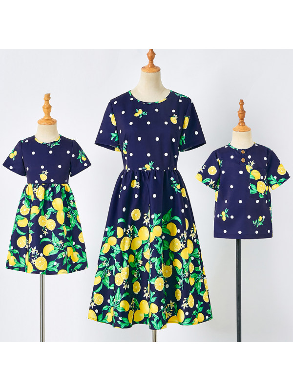 Casual Navy Blue Lemon Pattern Short-Sleeved Mom Kid Matching Outfits