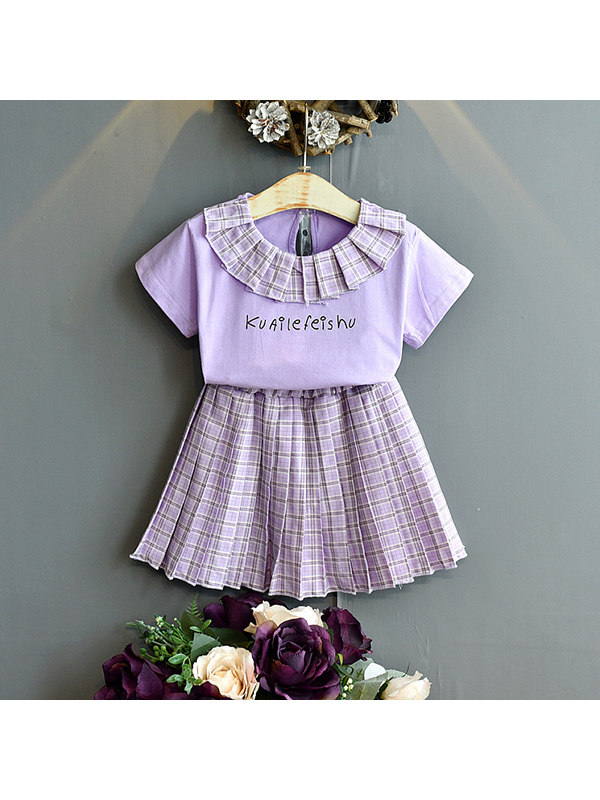 【18M-7Y】Girls T-shirt and Skirt Two-piece Suit