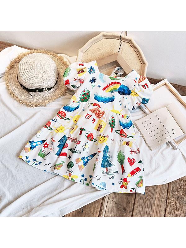 【18M-7Y】Girls Sweet Puff Sleeve Graffiti Dress
