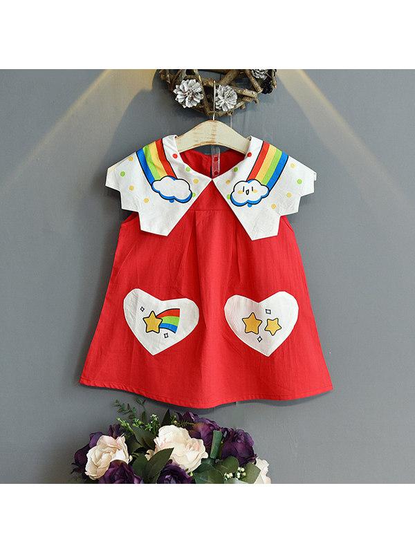 【18M-7Y】Girls Rainbow Print Sleeveless Dress