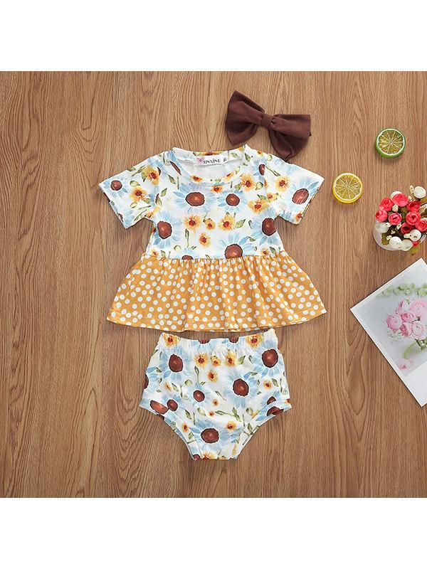 【6M-4Y】Girls Sweet Style Printed Short-sleeved Suit