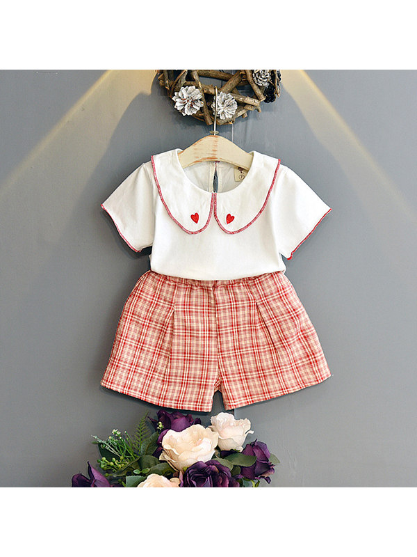 【18M-7Y】Girls Short Sleeve Embroidered Collar Plaid Shorts Set