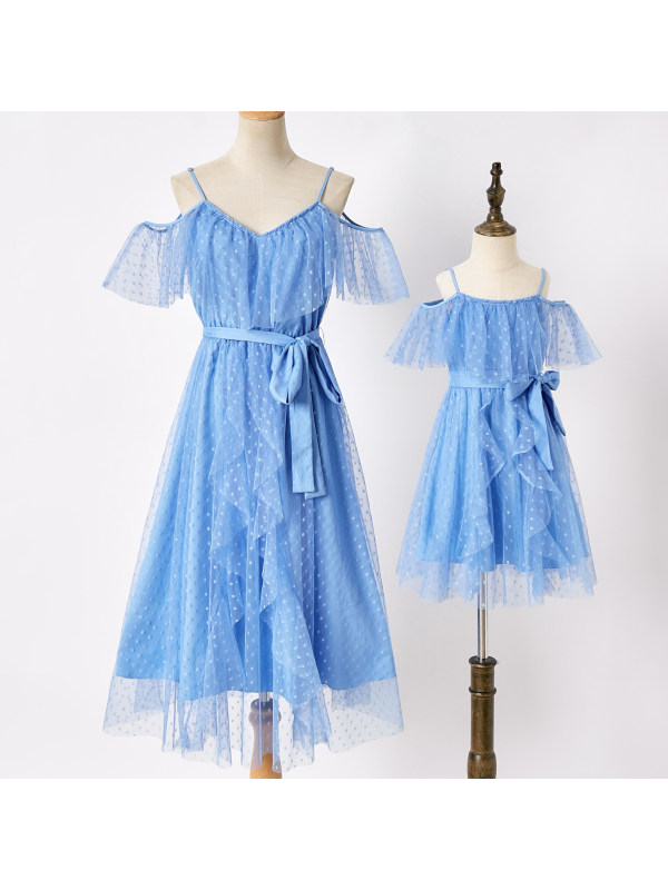 Sweet Blue Polka Dot Mesh Off The Shoulder Mom Girl Matching Dress - 1364