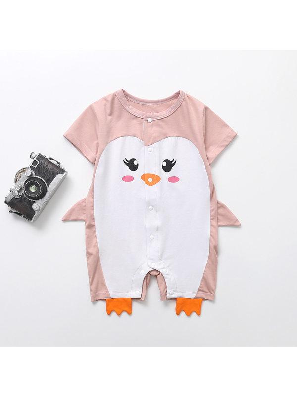 【3M-24M】Baby Girl Short-sleeved Penguin Print Romper