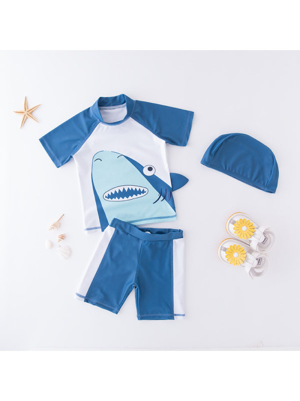 【18M-9Y】Boys Color Contrast Stitching Cartoon Print Two-piece Swimsuit