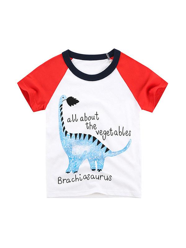 【18M-9Y】Boys Color Stitching Cartoon Print Short Sleeve T-shirt