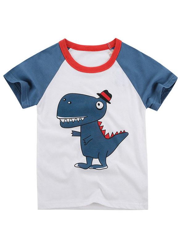 【18M-9Y】Boys Color Stiching Cartoon Print Short-sleeved T-shirt