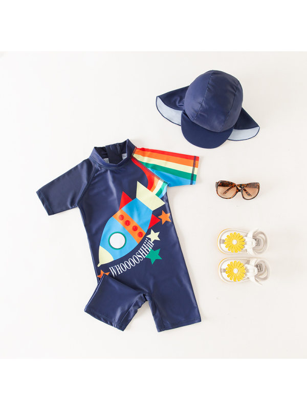 【18M-7Y】Boys Color Stitching Cartoon Print One-piece Swimsuit