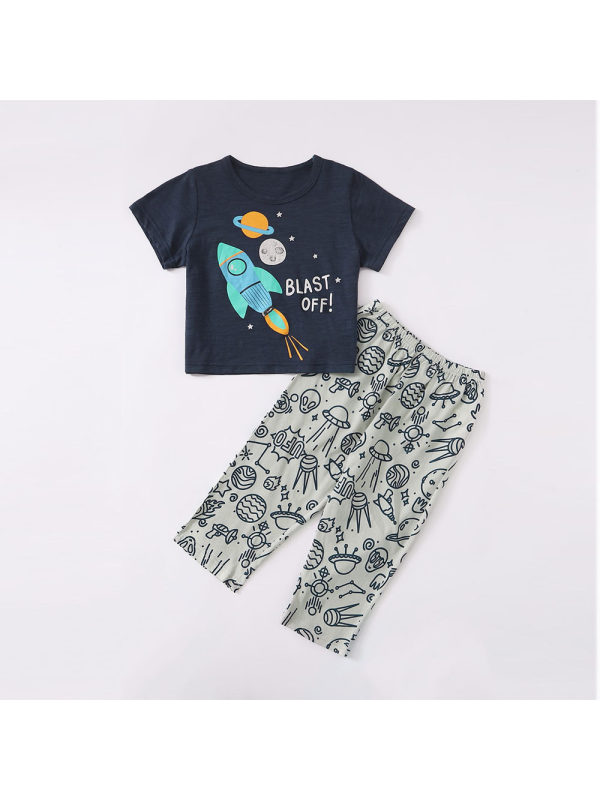 【18M-7Y】Boys Starry Sky Print Two-piece Short-sleeved Trousers