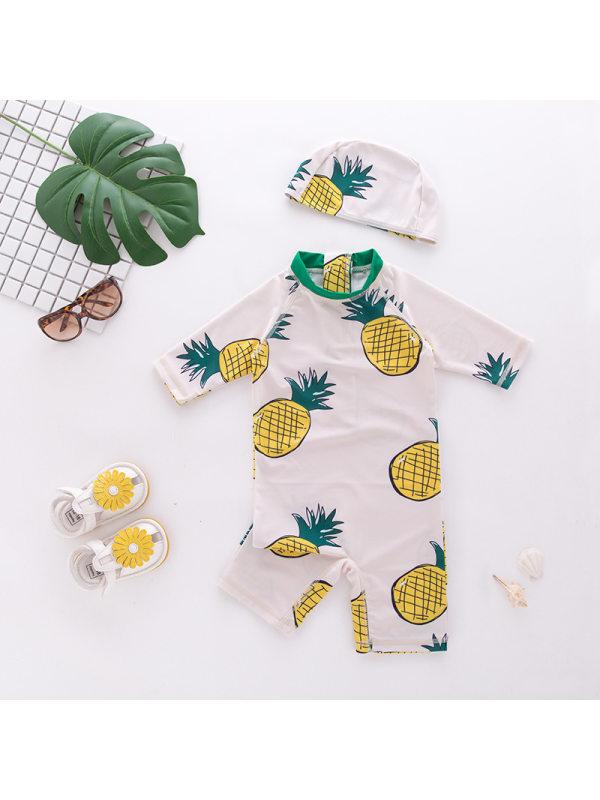 【18M-7Y】Boys Pineapple Print One-piece Beach Swimsuit