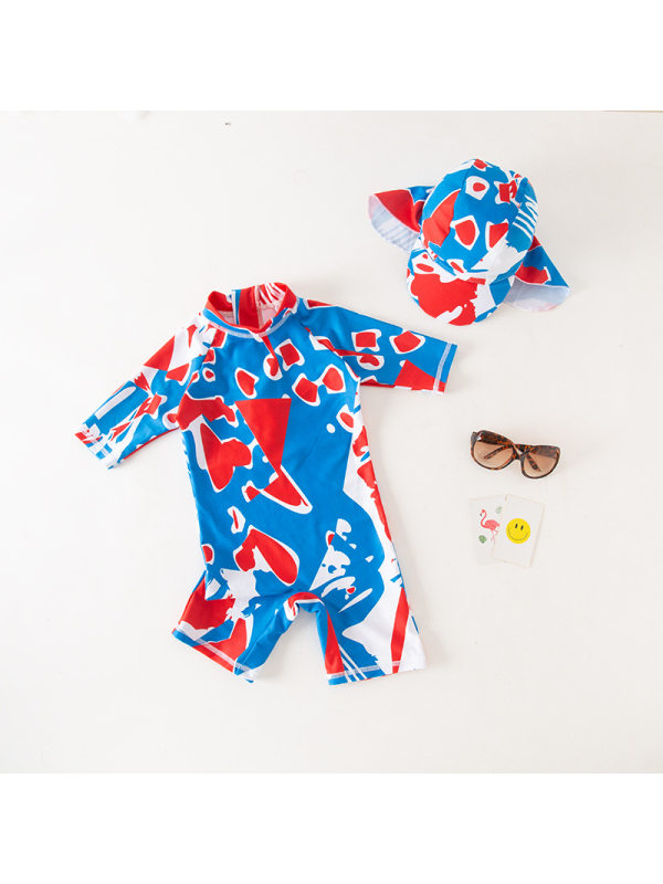 【18M-7Y】Blue Graffiti Print Hooded One-piece Swimsuit