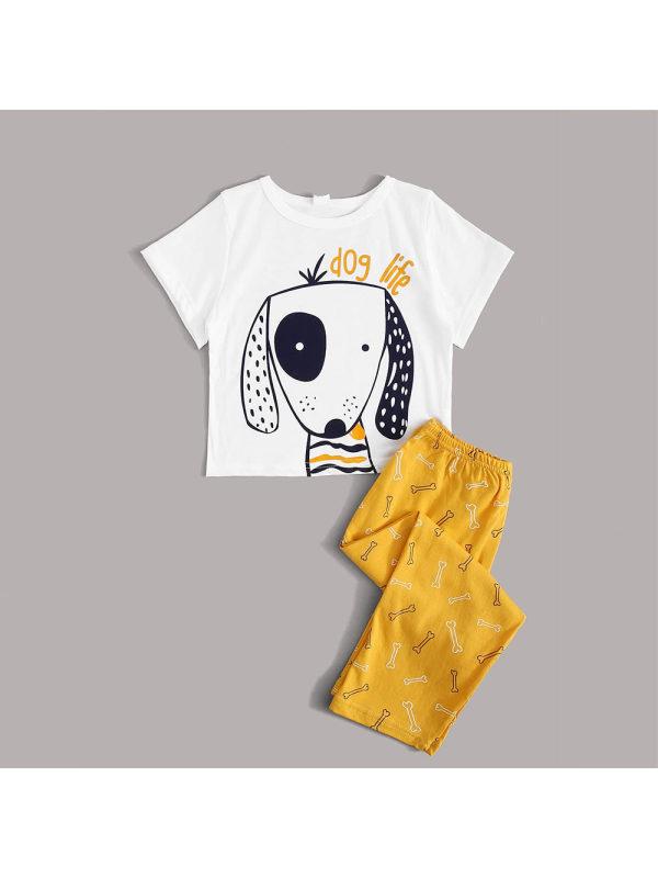 【18M-7Y】Boy Puppy Cartoon Print Short-sleeved Two-piece Home Service