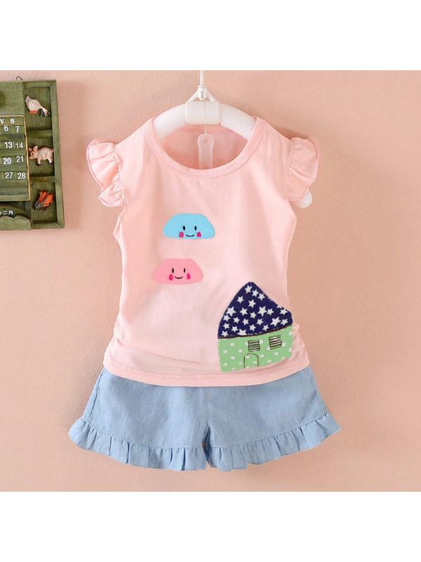 【12M-7Y】Girls Cute Cartoon Patch Vest T-Shirt Shorts Set