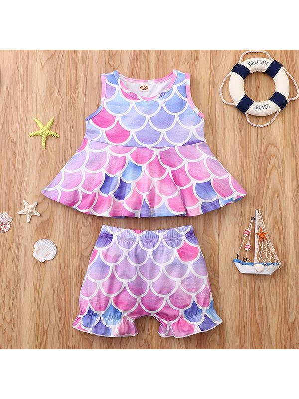 【12M-5Y】Girls Fish Scale Short-sleeved Suit Top Trouser Suit