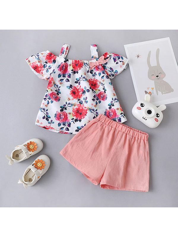 【18M-7Y】Girls Floral Sling Top Shorts Set
