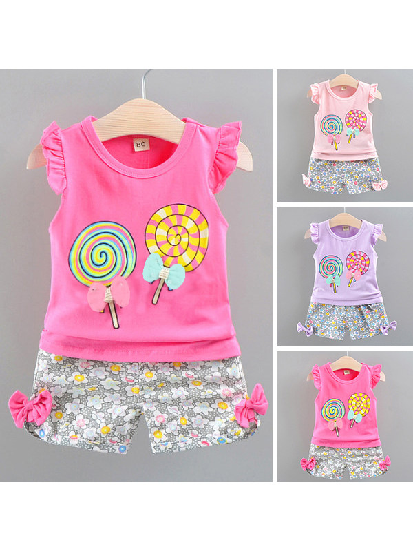 【12M-4Y】Cute Cartoon Print Sleeveless T-shirt and Floral Shorts Set