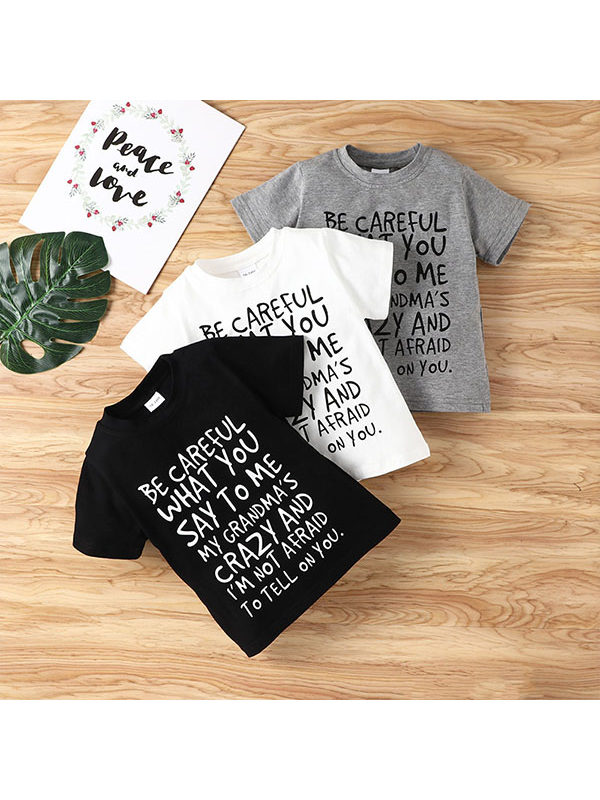 【18M-5Y】Girls Letter Printed Cotton Short-sleeved T-shirt