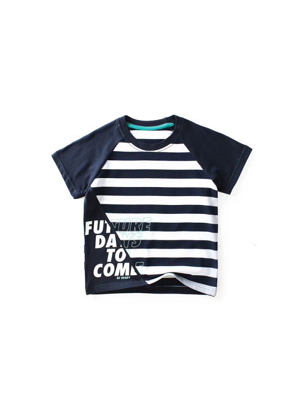 【4Y-13Y】Boys Striped Stitching Short Sleeve T-shirt