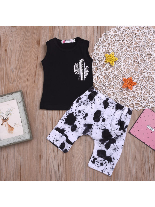 【6M-3Y】Boys Sleeveless Cactus Print T-shirt Ink Print Cropped Trousers Two-piece Suit