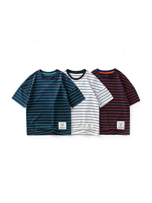 【4Y-13Y】Boys Loose Striped Short-sleeved T-shirt